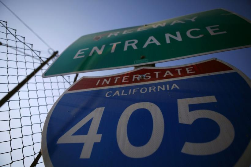 A sign is seen for the 405 freeway in Los Angeles
