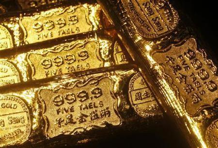 Five-tael (6.65 ounces or 190 grams) gold bars are seen at a jewellery store in Hong Kong in this April 21, 2011 illustration photo.