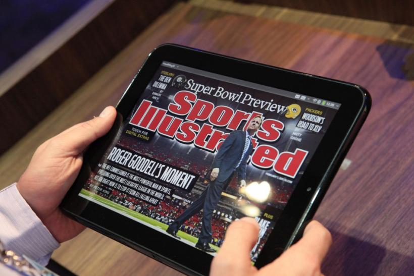 A digital edition of Sports Illustrated is shown on the new HP Palm TouchPad after a media presentation at the Herbst Pavilion at the Fort Mason Center in San Francisco