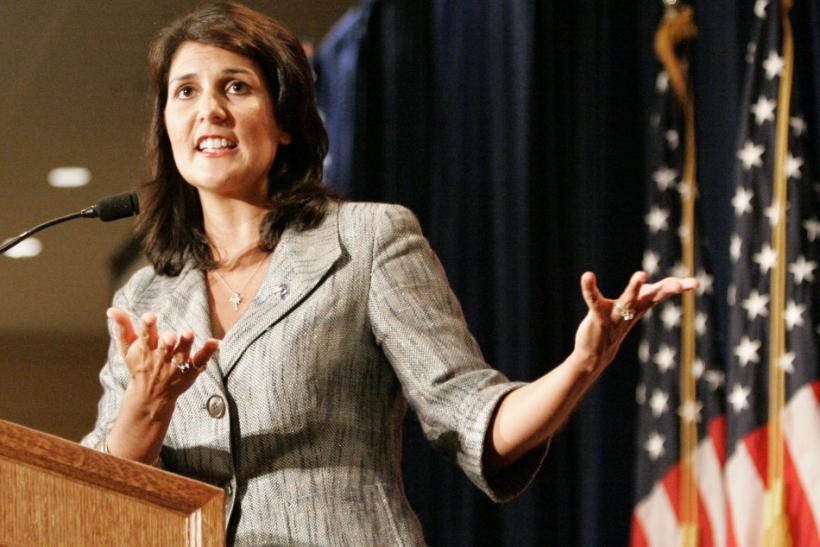South Carolina's Governor Haley gestures as she address the RedState Gathering of conservative activists in Charleston