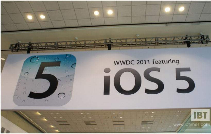 iOS 5 banner displayed at Apple Worldwide Developers Conference 2011 in San Francisco, California