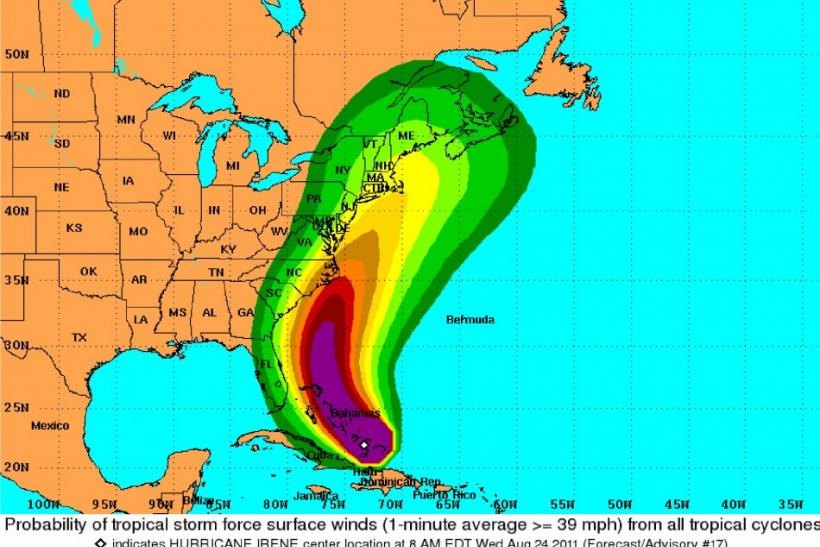 Hurricane Irene Projected Path