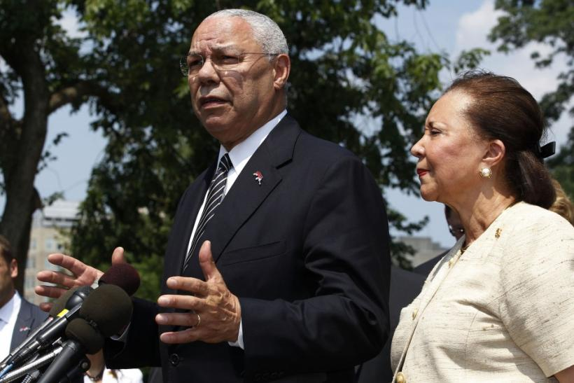 America's Promise Alliance founding chairman Colin Powell and current chairperson Alma Powell talk to the media at the White House in Washington