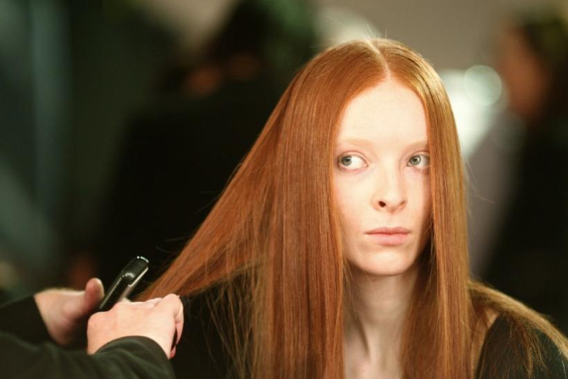 Model has make-up applied before Jaeger's Autumn/Winter 2008 show at London Fashion Week