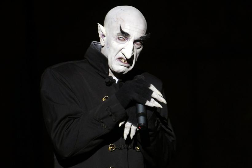Actor Suso Silva, dressed as Nosferatu the vampire, performs during