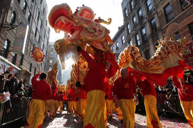Dragon dancers perform during the annual Lunar New Year parade in New York's Chinatown