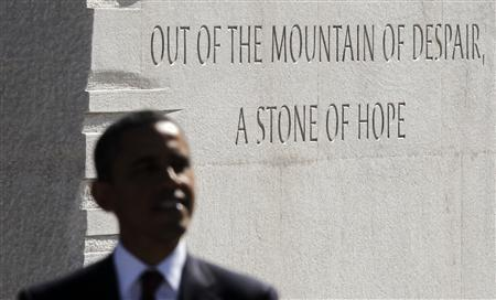 U.S. President Barack Obama speaks at the dedication ceremony of the Martin Luther King, Jr. National Memorial in Washington