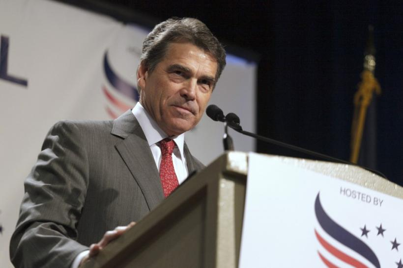 Texas Governor Perry speaks at the Iowa Faith & Freedom Coalition's Presidential Forum in Des Moines