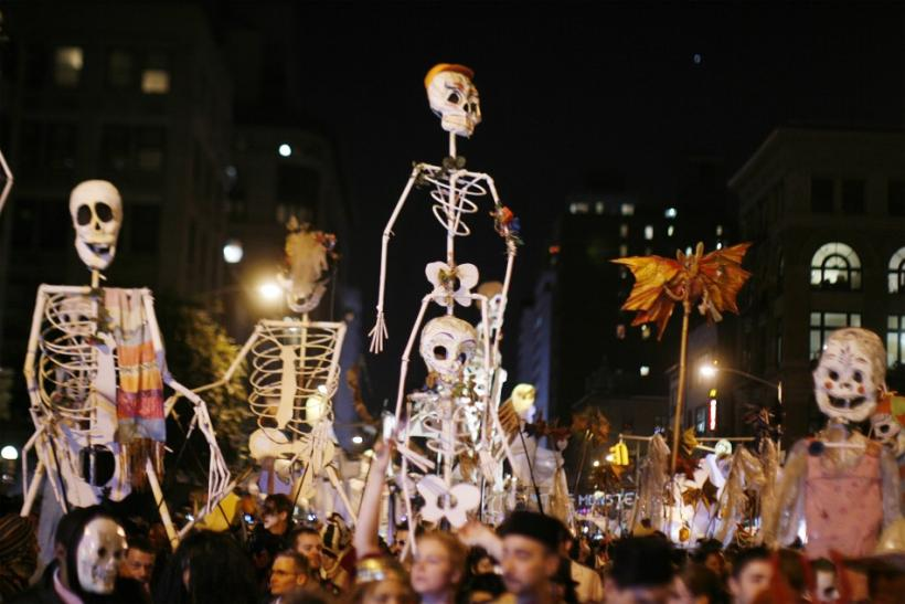 Revelers march in past Greenwich Village Halloween Parade in New York