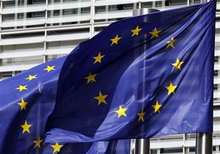 European flags are seen outside the European Commission headquarters in Brussels