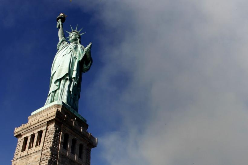 The Statue of Liberty is seen early on October 28, 2011 during ceremonies marking the 125th anniversary of the Statue at Liberty Island in New York.