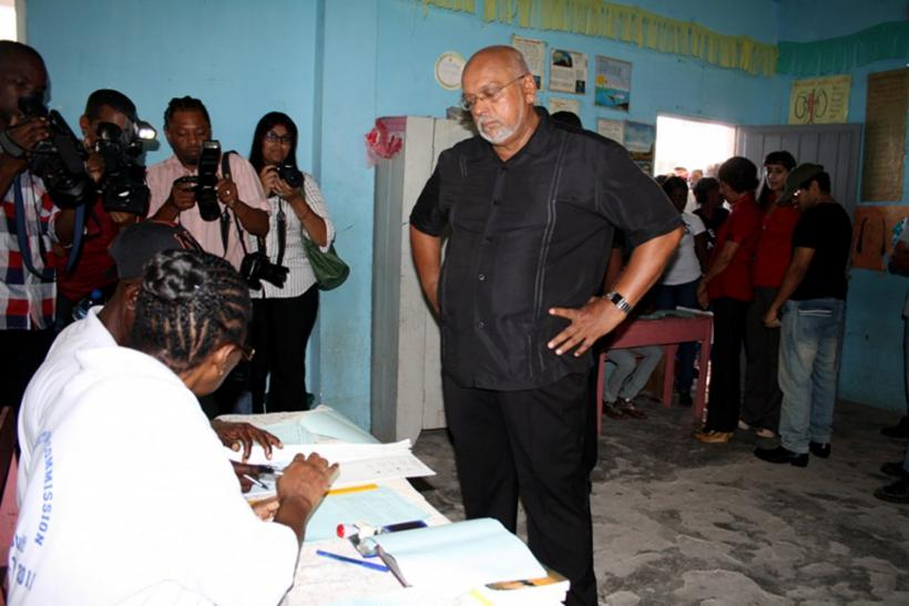 Ramotar, Presidential Candidate of incumbent People's Progressive Party/Civic (PPP/C), arrives at a polling station in Georgetown