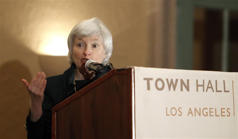 File picture shows Yellen, president and chief operating officer of Federal Reserve Bank of San Francisco, speaking at Town Hall Los Angeles forum in Los Angeles