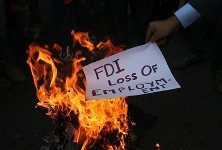 Protest against FDI in Retails