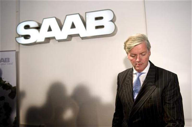 Muller Spyker Chief Executive and Chairman of Saab Automobile arrives for a news conference in Trollhattan