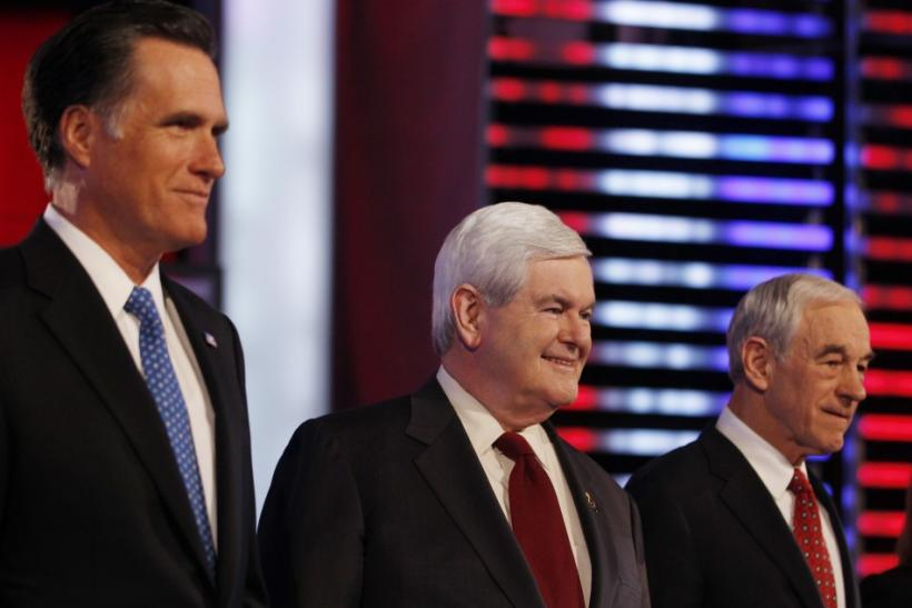 Republican presidential candidates (L-R) former Massachusetts Governor Mitt Romney, former U.S. House Speaker Newt Gingrich (R-GA) and U.S. Representative Ron Paul (R-TX)