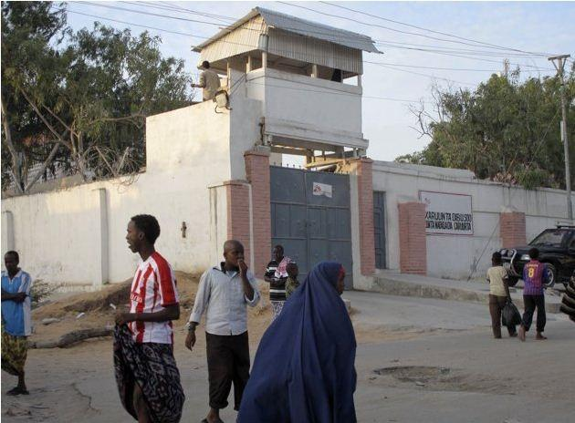 Residents walk outside of the Medecins Sans Frontieres building in Somalia