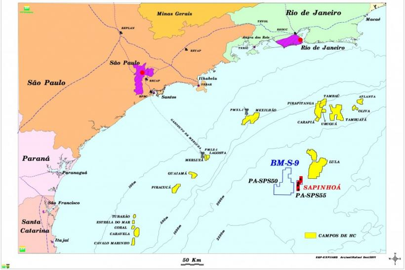 Map of Brazil's offshore oil operations