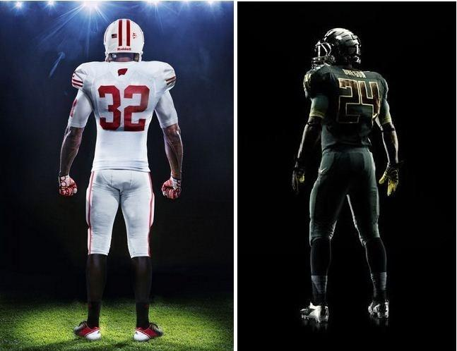 Oregon Ducks(R), Wisconsin Badgers(L) New Rose Bowl 2012 Uniforms.