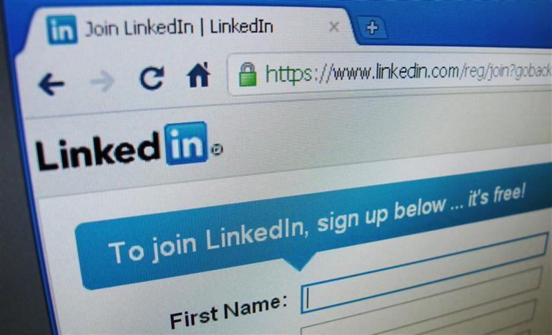 The sign up page of Linkedin.com is seen in Singapore