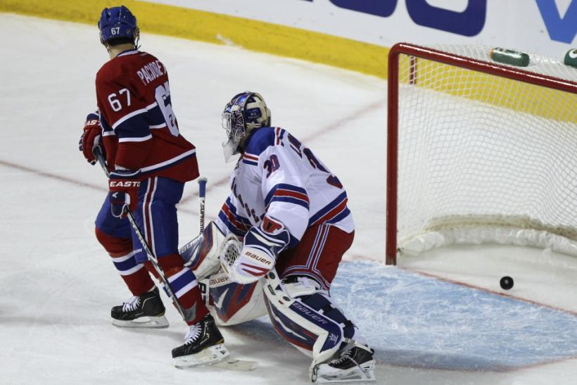 Canadiens Pacioretty scores on Rangers goalie Lundqvist during second period NHL hockey action in Montreal