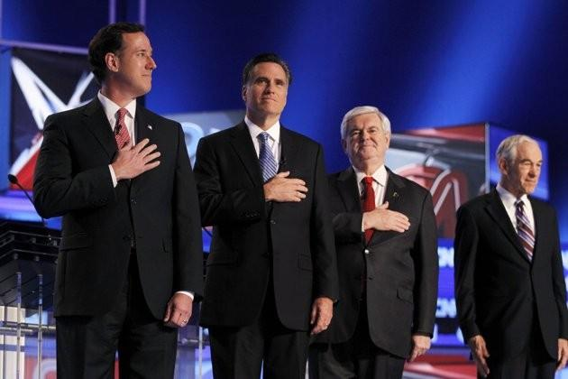 Santorum, Romney, Gingrich and Ron Paul at the CNN South Carolina 2012 Debate