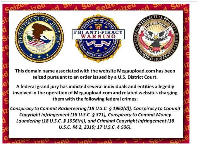 A federal notice posted on the Megaupload site