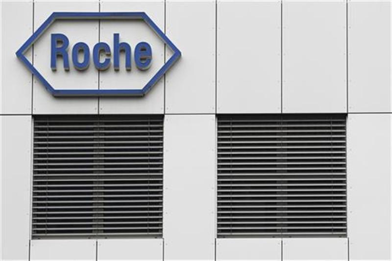 The logo of the Swiss drugmaker Roche is seen on a factory in Burgdorf