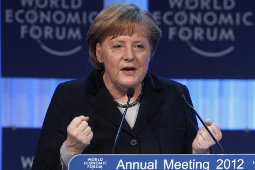 German Chancellor Angela Merkel speaks during the Jan. 25 opening of the Annual Meeting 2012 of the World Economic Forum in Davos, Switzerland.