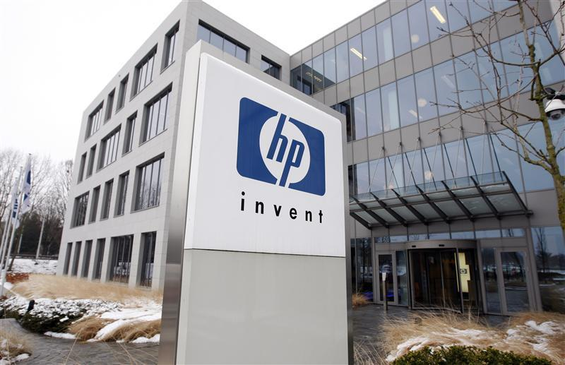 HP logo is seen outside Hewlett-Packard Belgian headquarters in Diegem