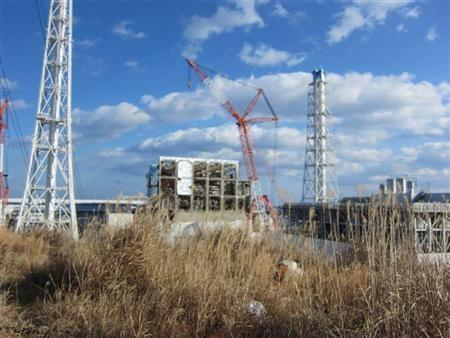The crippled Fukushima Daiichi nuclear power plant's No.4 reactor building is seen in Fukushima prefecture, in this handout picture Jan. 14, 2012. on January 14, 2012.
