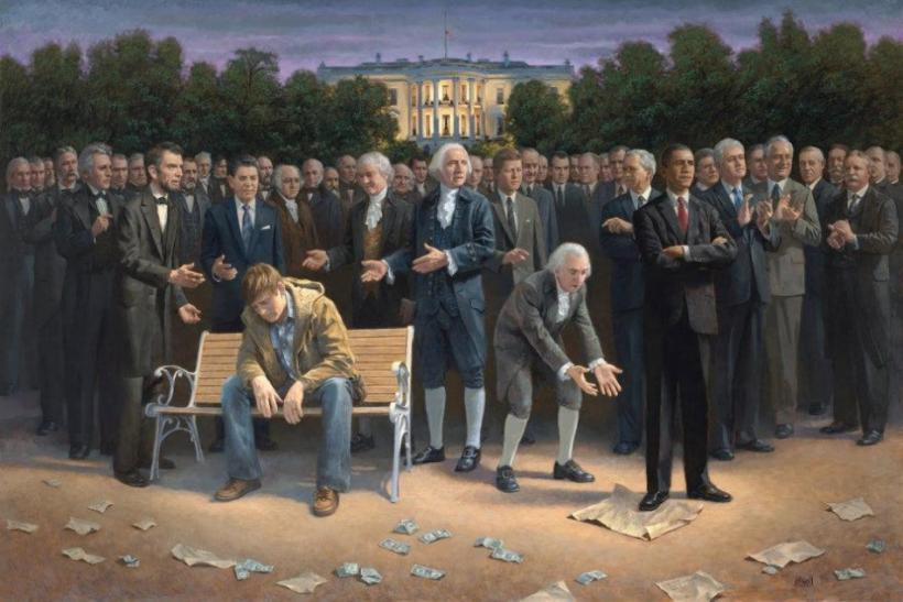 Jon McNaughton 'The Forgotten Man' Painting of President Barack Obama standing on the Constitution