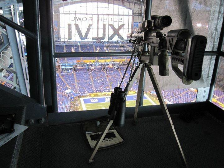 One of the photos posted online of an apparent sniper position at the Super Bowl.