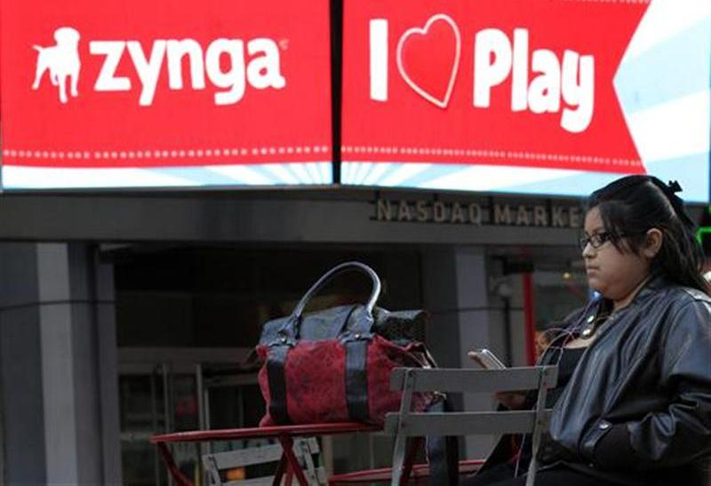 The corporate logo for Zynga is seen on a screen outside the Nasdaq Market Site in New York