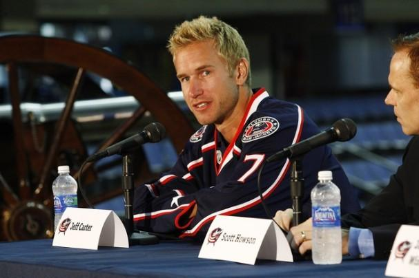 Jeff Carter at his introductory press conference in Columbus. Could he be in line for another one in Buffalo soon?