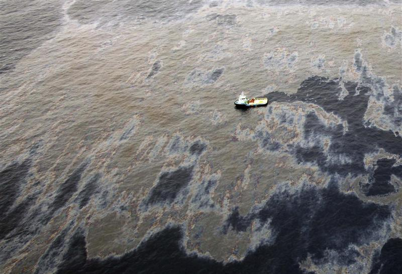 An aerial view shows oil that seeped from a well operated by Chevron in the Frade Field, which is located off the coast of Rio de Janeiro.