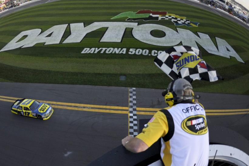 Kenseth takes the checkered flag to win the NASCAR Sprint Cup Gatorade Duel #2 qualifying race for the Daytona 500 in Daytona Beach