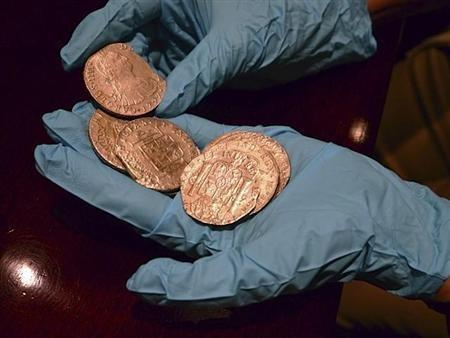 Gold coins from a treasure trove of gold and silver coins worth $500 million and recovered from a Spanish ship believed to be from the wreckage of the Nuestra Senora de las Mercedes, a ship sunk by the British Navy in 1804 as it returned from South Americ