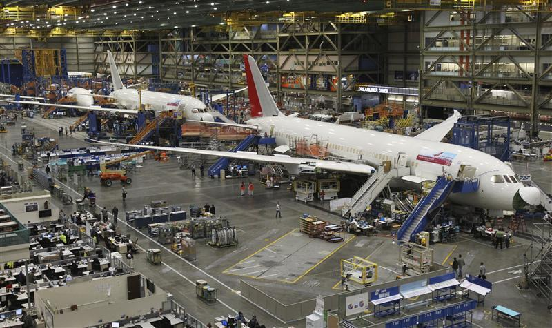 787 Dreamliners are seen on the production line at the Boeing Commercial Airplane manufacturing facility in Everett