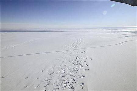 An aerial view of a crack at the Pine Island Glacier ice shelf is seen in western Antarctica, October 26, 2011.