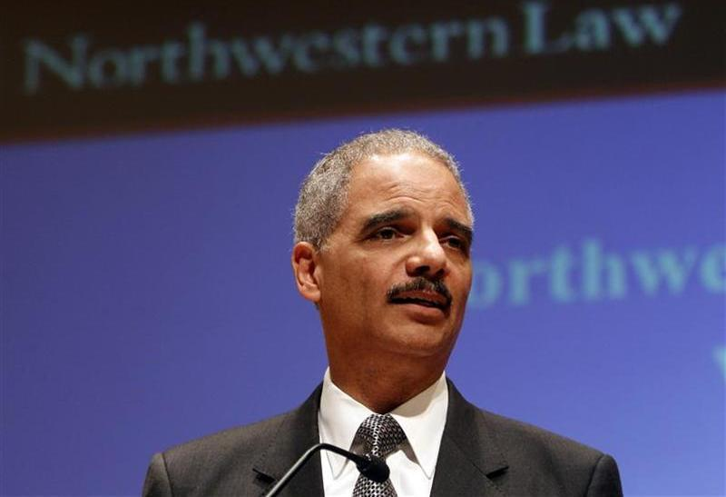 U.S. Attorney General Holder delivers a speech at Northwestern University School of Law in Chicago