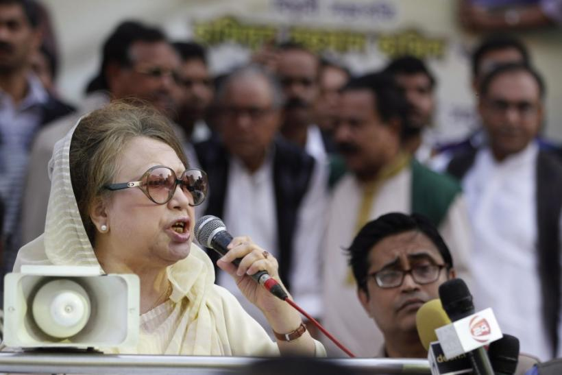 BNP Chairperson Begum Khaleda Zia speaks during a rally before a mass procession in front of their party office in Dhaka