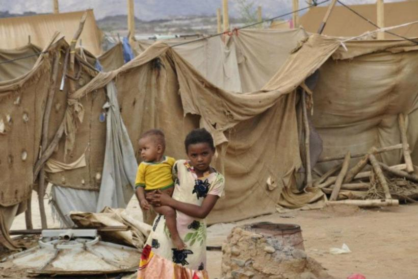 Children in Al-Mazrak IDP camp in Haradh, northern Yemen.
