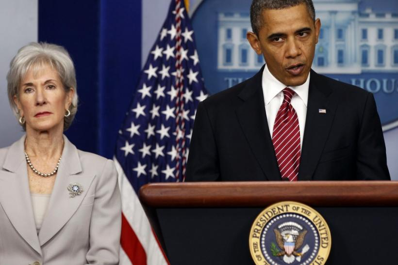 President Barack Obama with Secretary of HHS Kathleen Sebelius