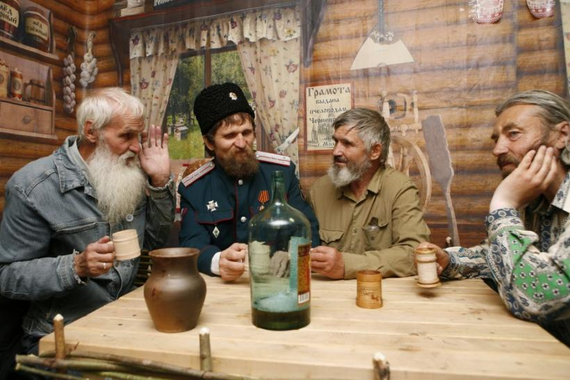 Elderly Russians drink in Siberia.