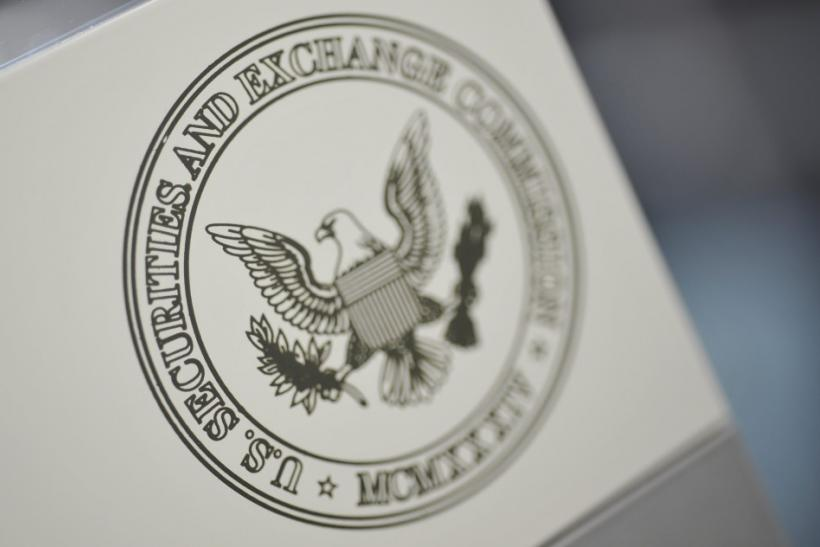 The U.S. Securities and Exchange Commission logo adorns an office door at the SEC headquarters in Washington, June 24, 2011.