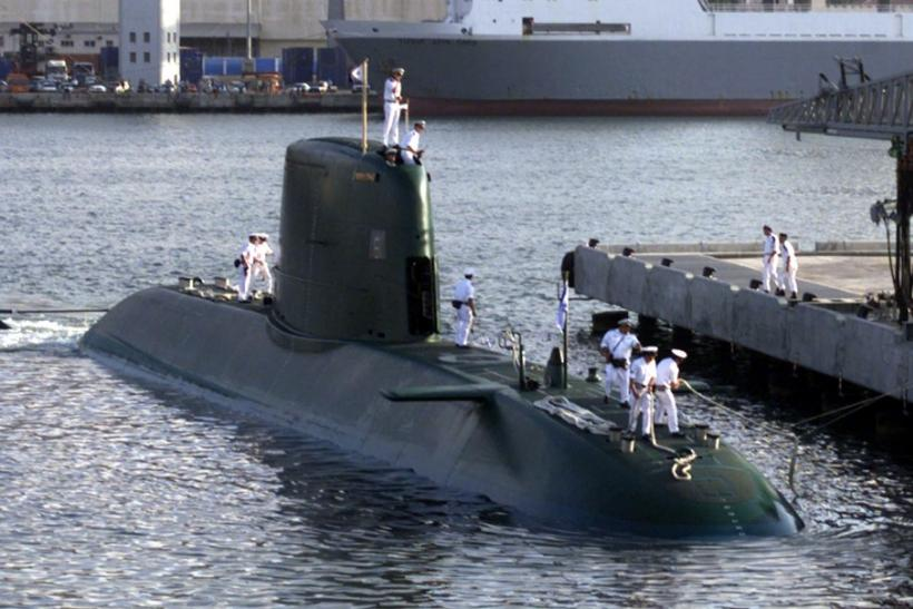 Israeli new Dolphin-class submarine docks in Haifa port July 27, on arrival from Germany.