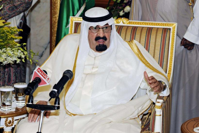 Saudi Arabia's King Abdullah speaks in Riyadh