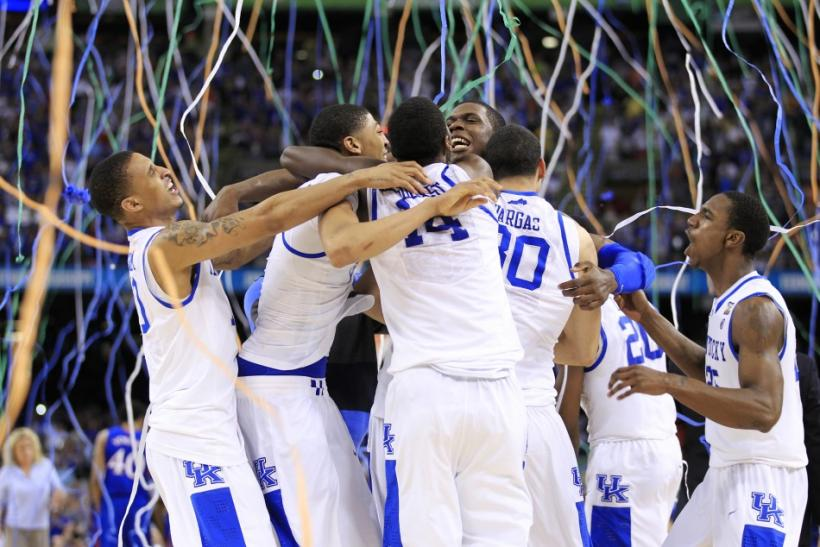 Kentucky Wildcats celebrate defeating Kansas Jayhawks to win men's NCAA Final Four championship college basketball game in New Orleans, 03/04/2012