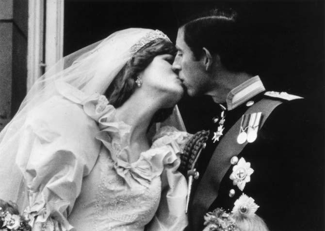 Prince Charles and Princess Diana kiss on Wedding Day